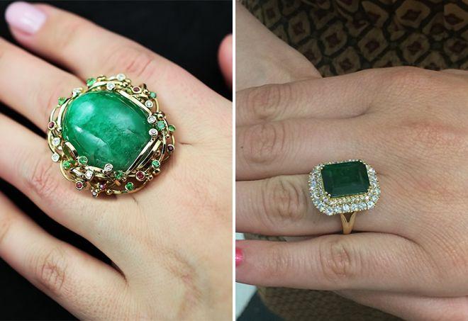 кольцо с большим изумрудом