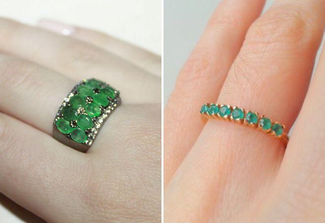 кольцо дорожка с изумрудами