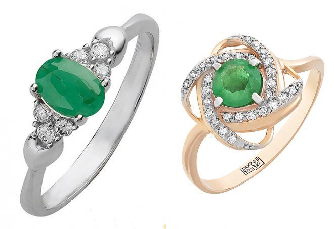 кольцо с изумрудом и фианитами