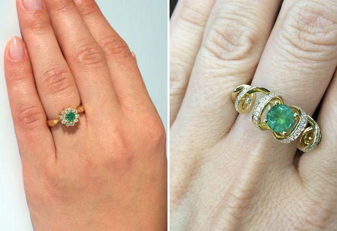 кольца с натуральным изумрудом