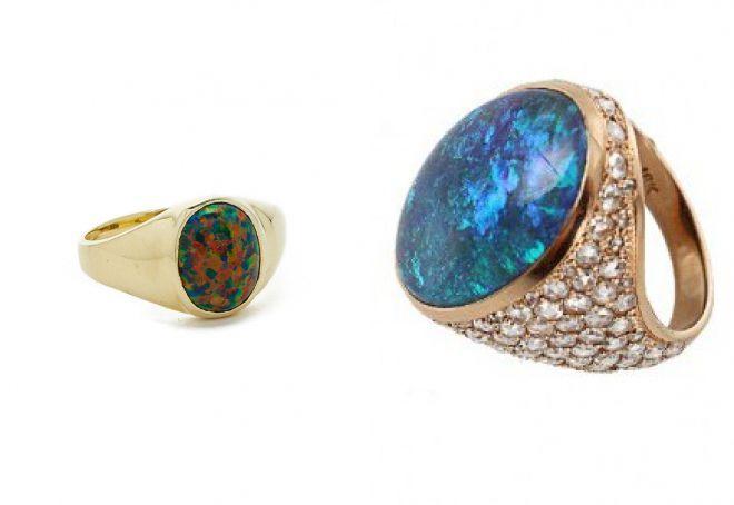 женские кольца печатки с опалом