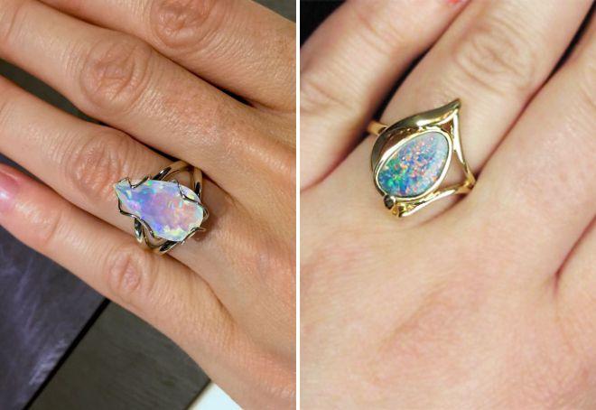 обручальные кольца с опалом