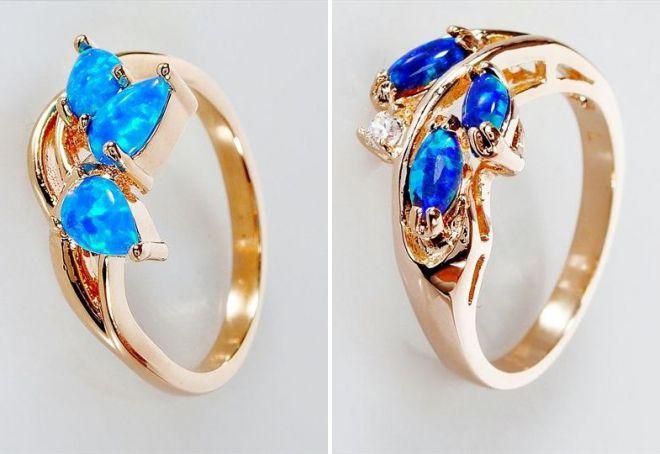 кольцо с синим опалом