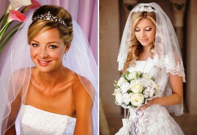 Модные свадебные прически с диадемой – с фатой, с челкой и без, с локонами