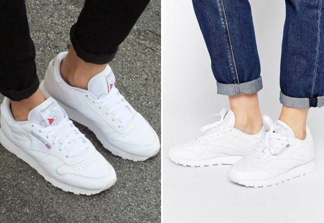Модные женские кожаные кроссовки – Адидас, Найк и Рибок, летние и ... ee041725d3d