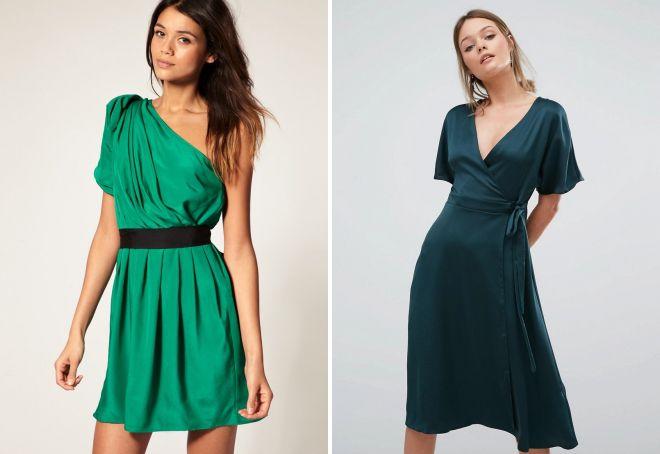 зеленое атласное платье