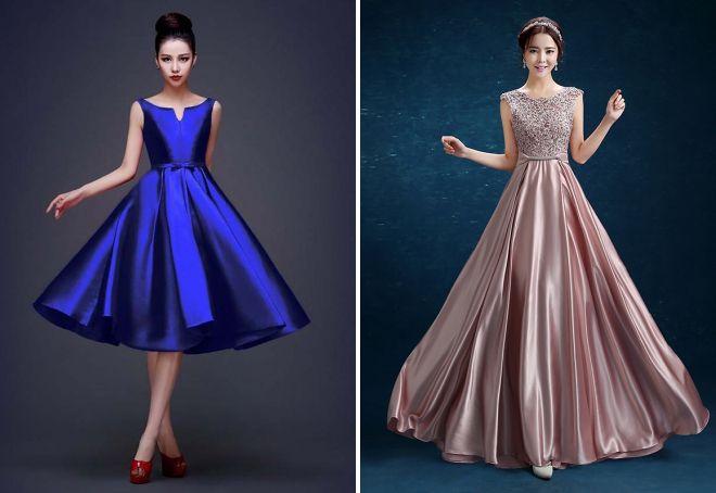 вечерние платья из атласа