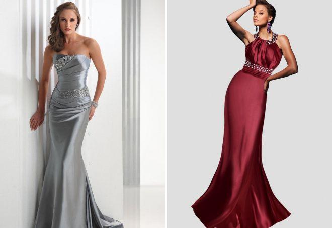 атласные вечерние платья