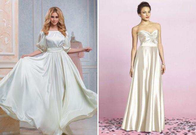 белое атласное платье в пол