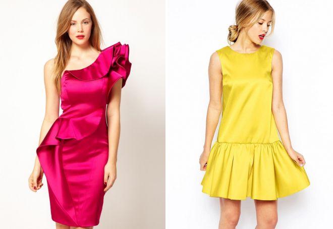 летние платья из атласа
