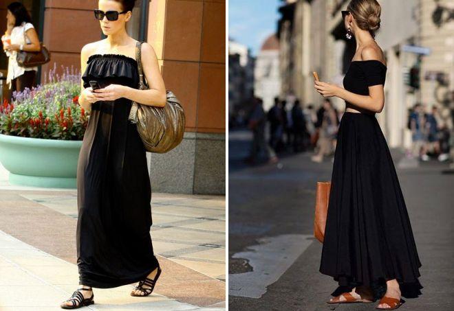 с чем носить черный сарафан