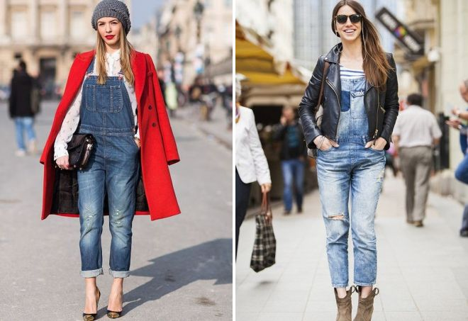 луки с джинсовым комбинезоном