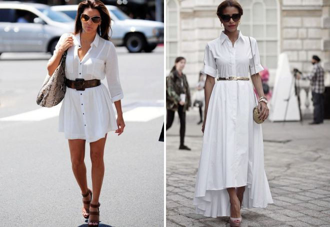 белое летнее платье рубашка