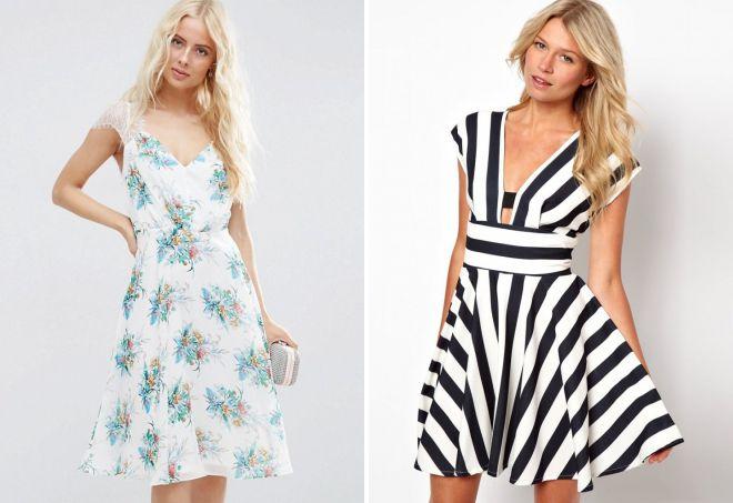 белое летнее платье с принтом