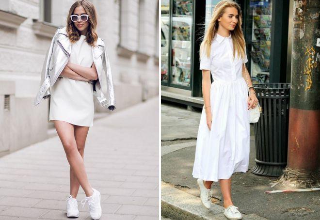 образ с белым летним платьем
