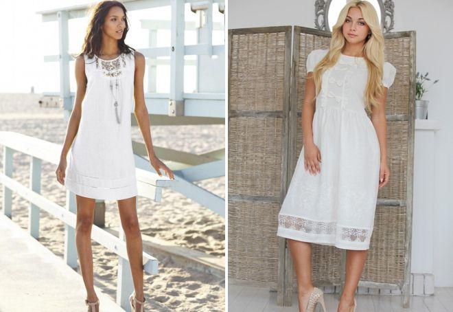 модные белые летние платья