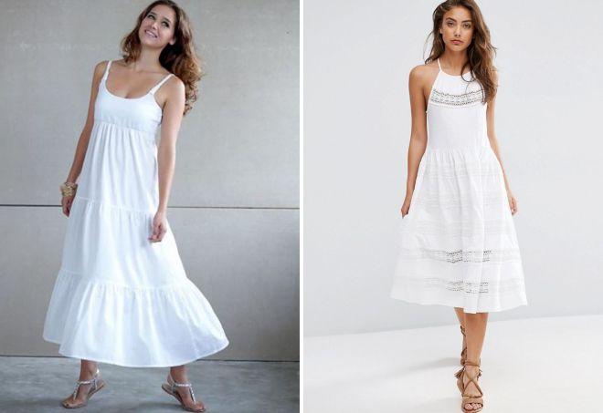 белое летнее платье из хлопка