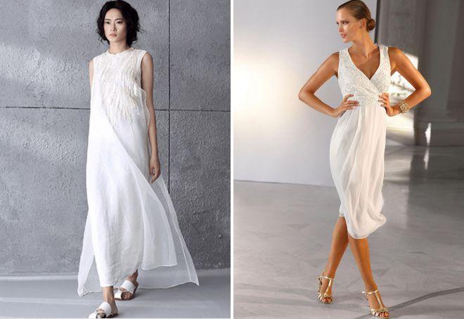 женские белые летние платья