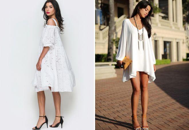 белое летнее платье свободного покроя