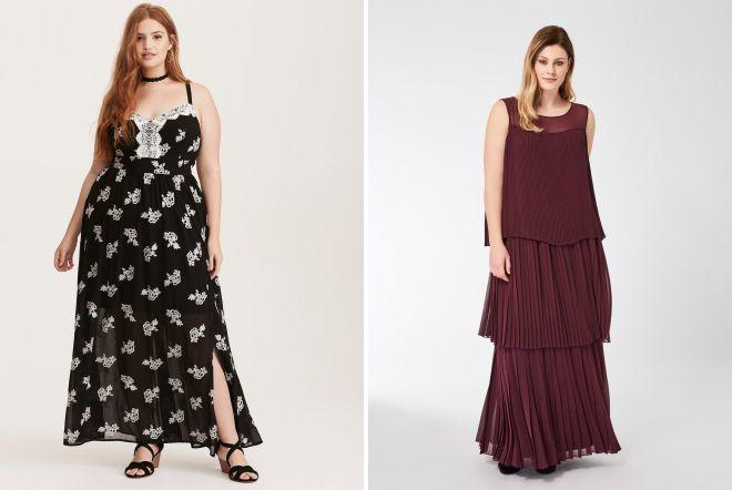 платья в пол 2018 для полных