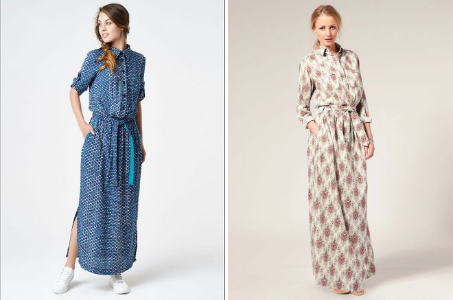 длинные платья рубашки 2018