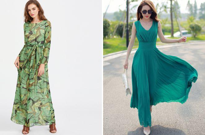 шифоновые платья в пол 2018