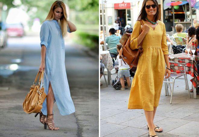 с чем носить льняное платье