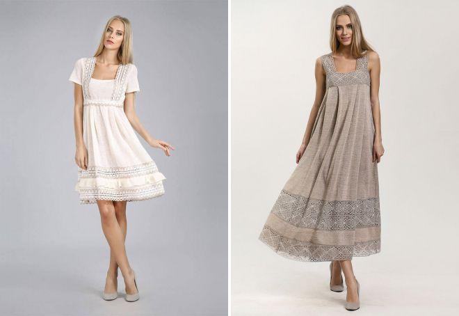 льняное платье с кружевом