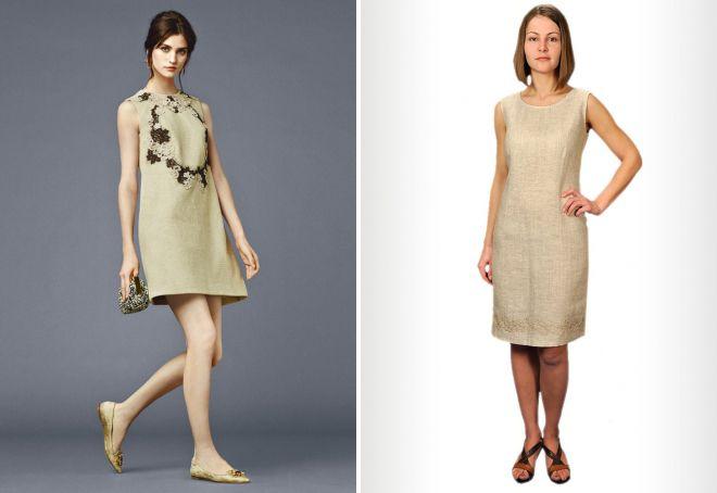 прямое платье из льна