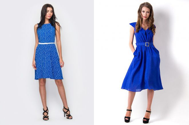2933e4fd627c894 Модное синее летнее платье – красивое, стильное, пляжное, пышное ...
