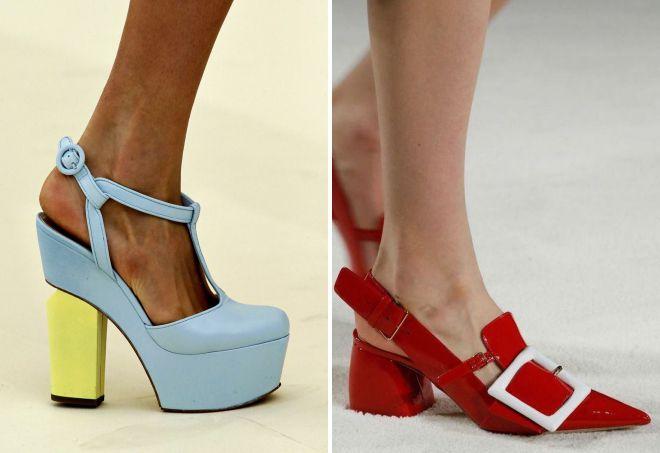 летние туфли на толстом каблуке