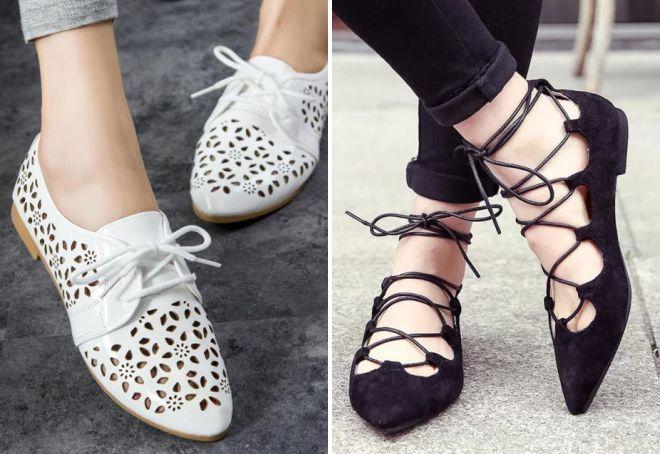 женские летние туфли на шнурках