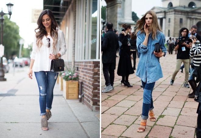 рубашка навыпуск с джинсами