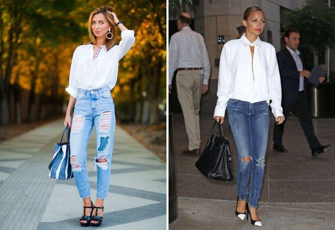 рваные джинсы с рубашкой