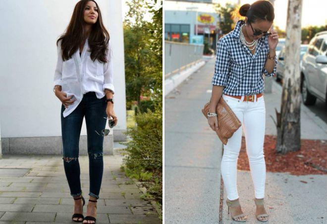 рубашка с джинсами женский образ