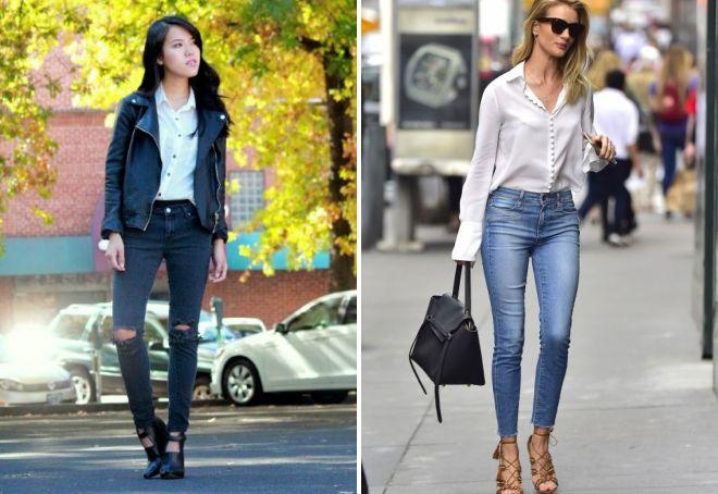 джинсы и рубашка образы для девушки