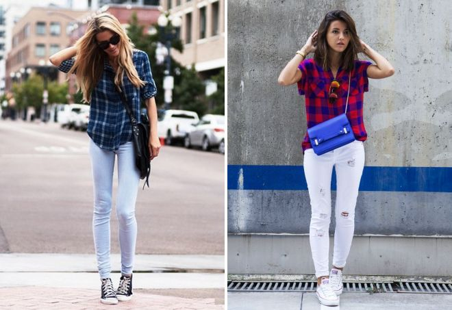 джинсы кеды и рубашка
