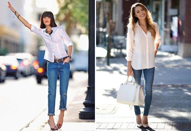 джинсы рубашка и каблуки