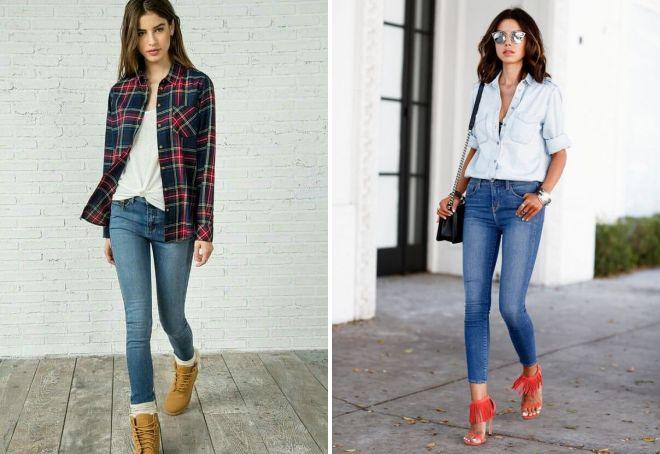 женские джинсы с рубашкой 2017