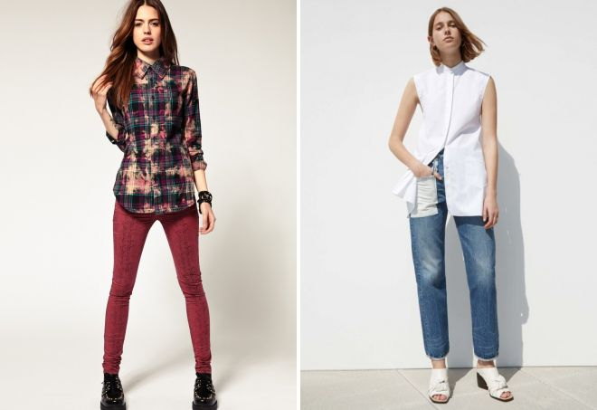 женские джинсы с рубашкой