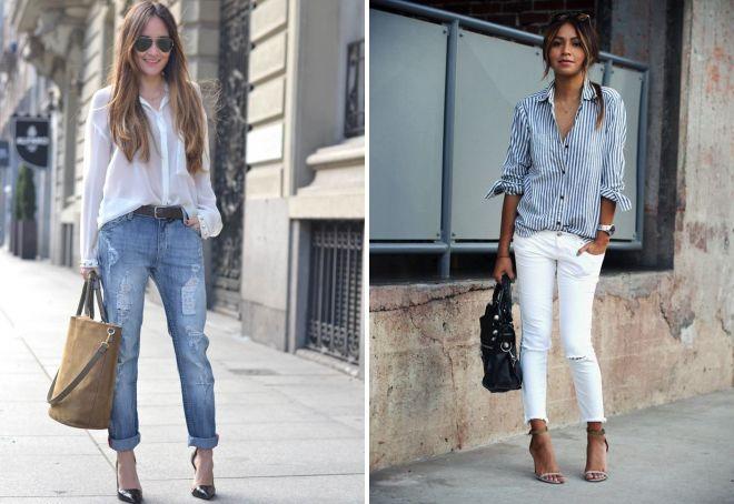 как заправить рубашку в джинсы девушке