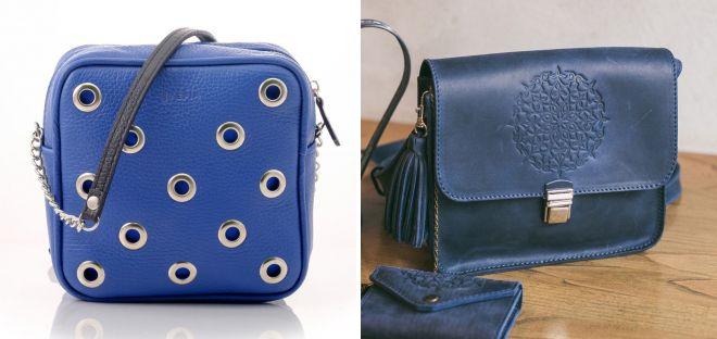 синие кожаные сумки