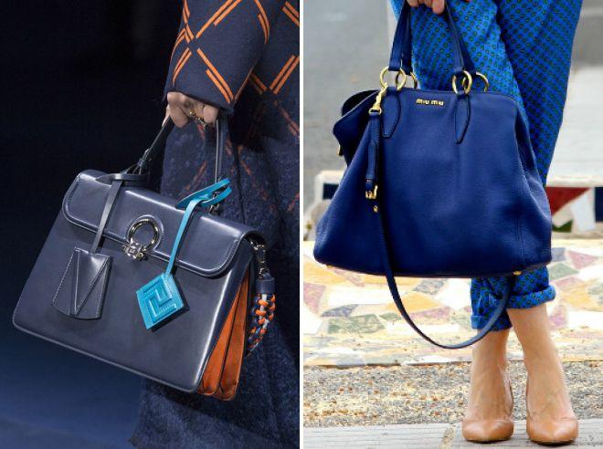 синии кожаные сумки 2017 года