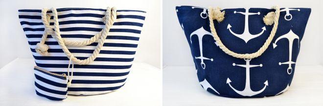 пляжные сумки в сине белых тонах