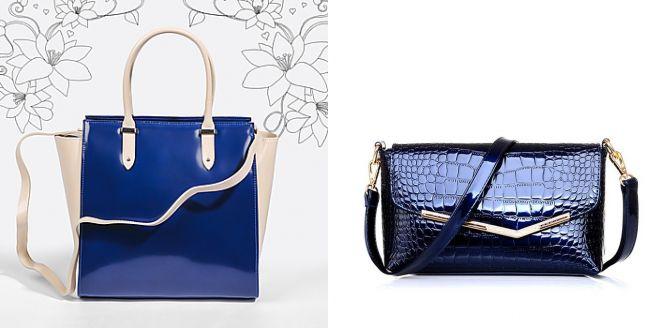 женские лаковые сумки синего цвета