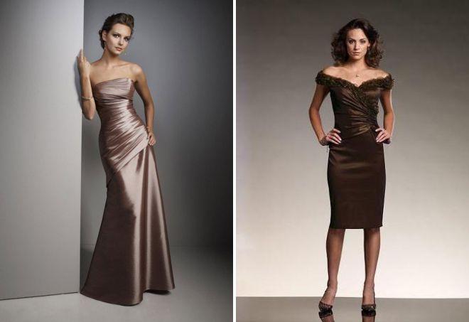 коричневое вечернее платье