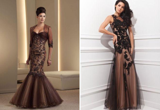 платье из коричневого кружева