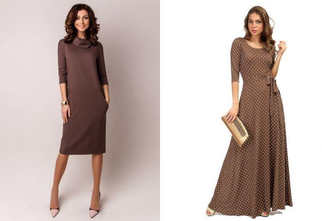 коричневые трикотажные платья