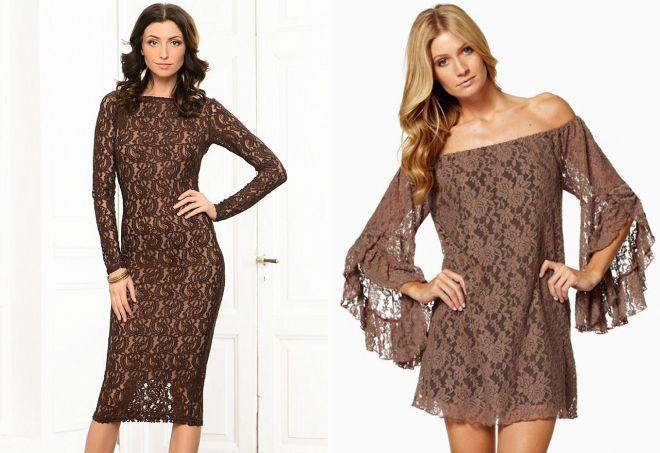 коричневое кружевное платье