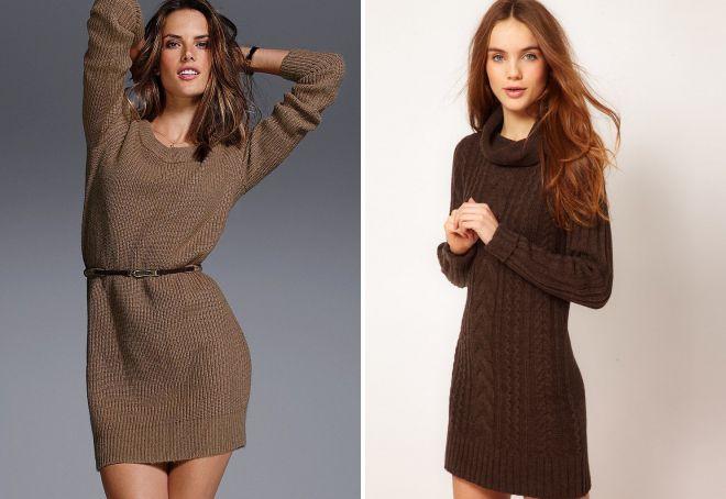 вязаное коричневое платье